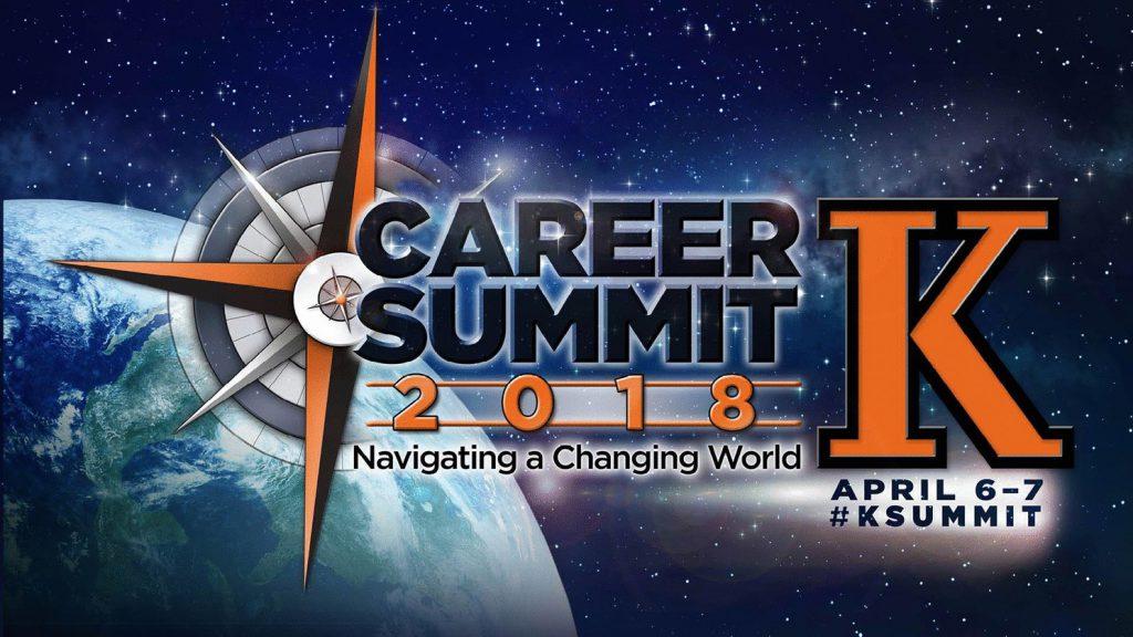 Text: Career Summit 2018, Navigating a Changing World, April 6-7 #KSummit
