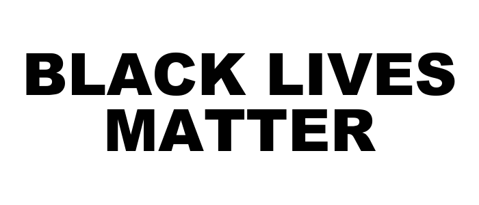 "White background message with the words ""Black Lives Matter"""