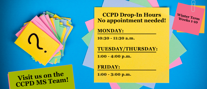 CCPD drop in hours are Monday 10:30-11:30 a.m., Tuesday and Thursday 1-4 p.m. and Friday 1-3 p.m.
