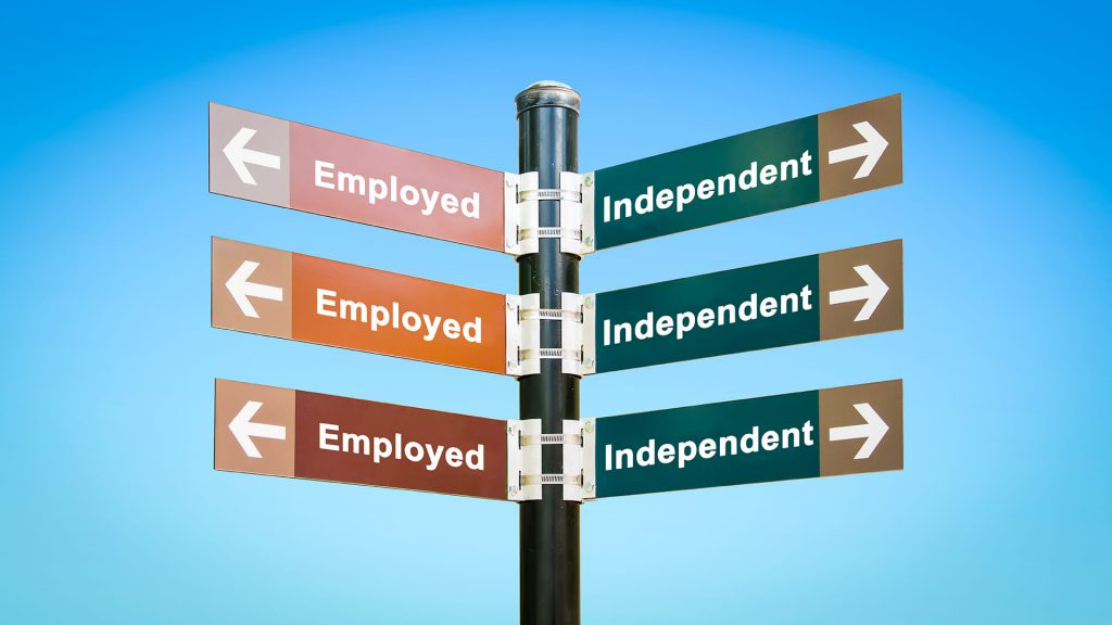 road sign marking employed vs independent choices