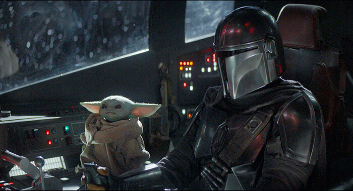 Baby Yoda (Grogu) and Mando from The Mandalorian television show.