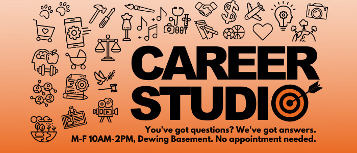 Career Studio open Monday through Friday 10AM-2PM in Dewing Basement
